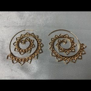 Gold Indian Swirl Hoop Earrings